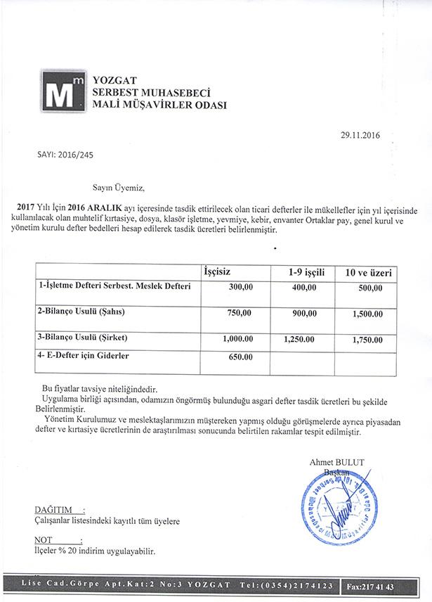 2017 Yılı Yozgat Defter Tasdik Ücretleri