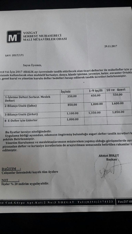 2018 Yılı Yozgat Defter Tasdik Ücretleri